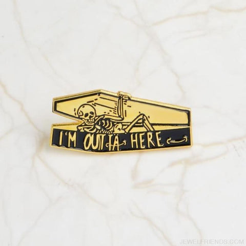 Image of Life Was Ok Skull Pins - Style2-Gold - Custom Made | Free Shipping