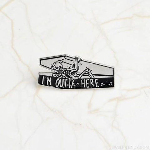 Life Was Ok Skull Pins - Style2-Silver - Custom Made | Free Shipping