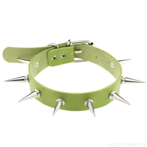 Long Spike Leather Belt Collar Choker - Green - Custom Made | Free Shipping