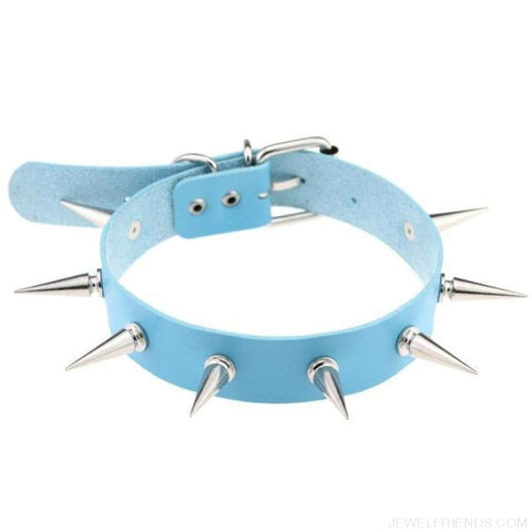 Long Spike Leather Belt Collar Choker - Light Blue - Custom Made | Free Shipping