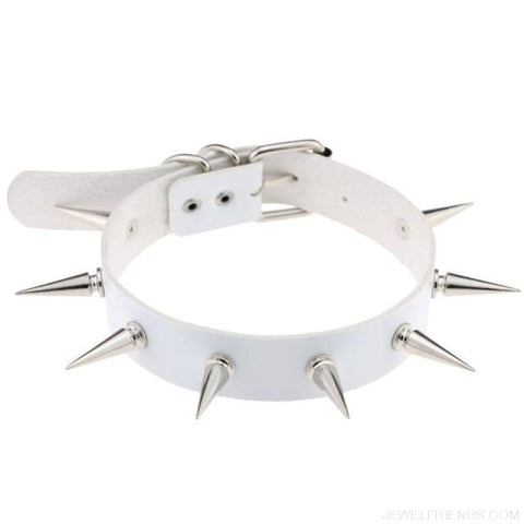 Long Spike Leather Belt Collar Choker - White - Custom Made | Free Shipping