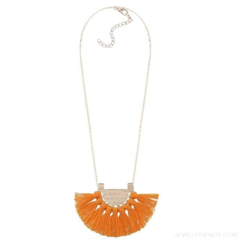 Long Tassel Chain Necklace Statement - Orange - Custom Made | Free Shipping
