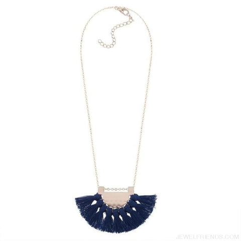 Long Tassel Chain Necklace Statement - Sapphire - Custom Made | Free Shipping