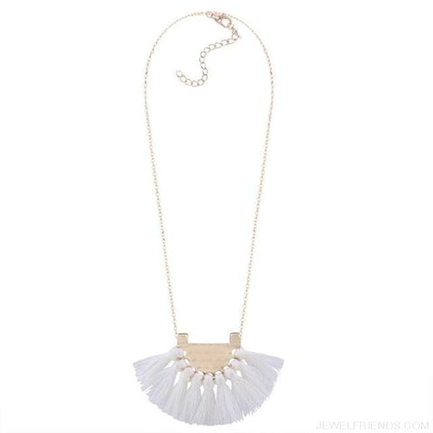 Long Tassel Chain Necklace Statement - White - Custom Made | Free Shipping