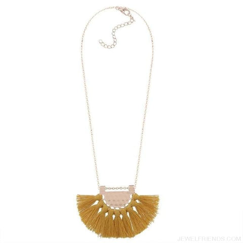 Long Tassel Chain Necklace Statement - Yellow - Custom Made | Free Shipping