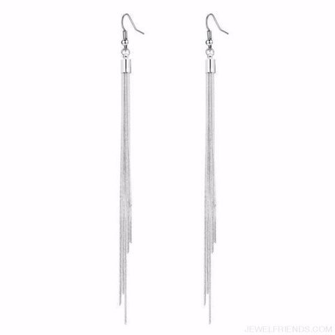 Image of Long Thin Silver Color Tassel Earrings - Custom Made | Free Shipping