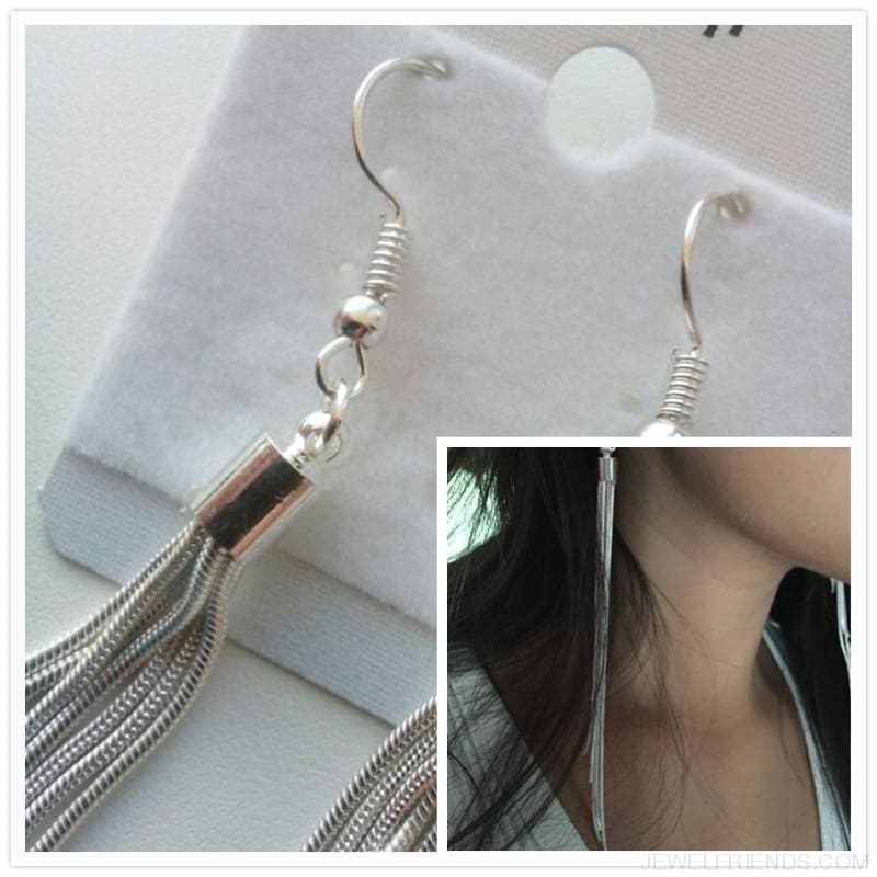 Long Thin Silver Color Tassel Earrings - Custom Made | Free Shipping
