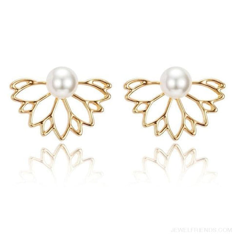 Lotus Crystal Flower Stud Earrings - Gold 1 - Custom Made | Free Shipping