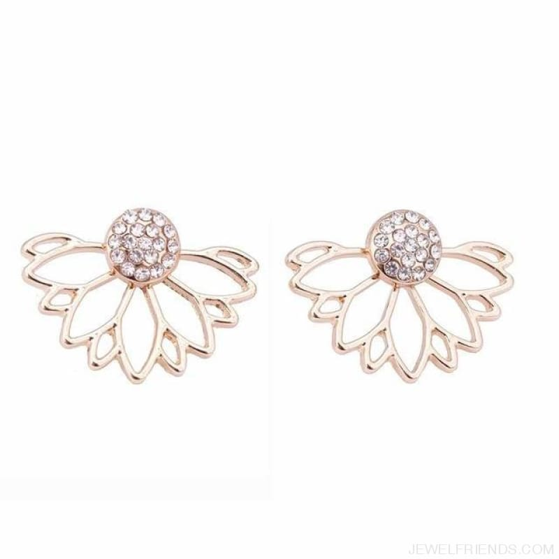Lotus Crystal Flower Stud Earrings - Gold - Custom Made | Free Shipping