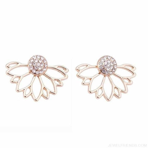 Image of Lotus Crystal Flower Stud Earrings - Gold - Custom Made | Free Shipping