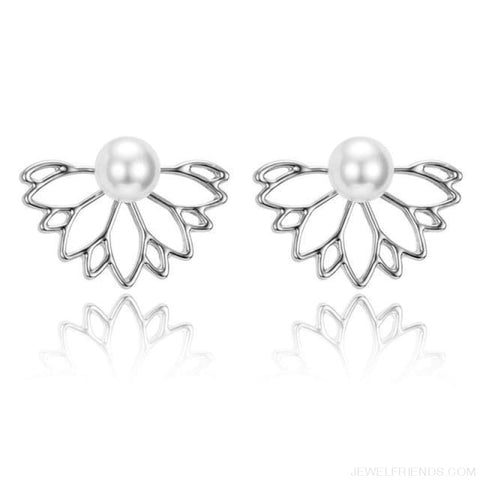 Lotus Crystal Flower Stud Earrings - Silver 1 - Custom Made | Free Shipping