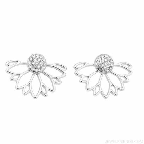 Lotus Crystal Flower Stud Earrings - Silver - Custom Made | Free Shipping