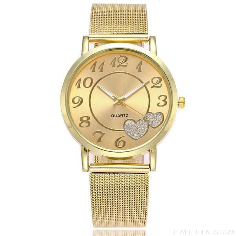 Love Heart Dial Wristwatches - Gold - Custom Made | Free Shipping