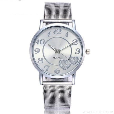 Image of Love Heart Dial Wristwatches - Silver - Custom Made | Free Shipping
