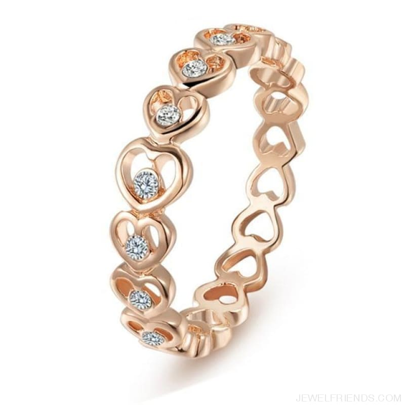 Love Rose Gold Color Crystal Heart Rings - 4 / Rose Gold - Custom Made | Free Shipping