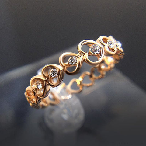 Image of Love Rose Gold Color Crystal Heart Rings - Custom Made | Free Shipping