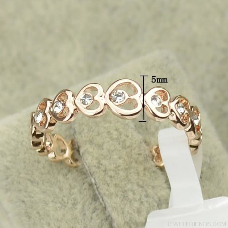 Love Rose Gold Color Crystal Heart Rings - Custom Made | Free Shipping