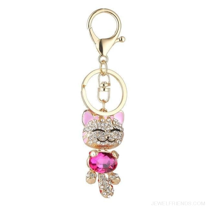 Lucky Smile Cat Crystal Rhinestone Keyrings - A - Custom Made | Free Shipping