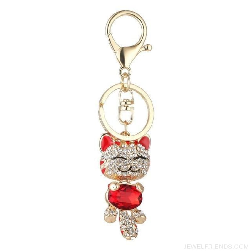 Lucky Smile Cat Crystal Rhinestone Keyrings - B - Custom Made | Free Shipping