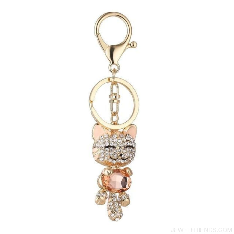 Lucky Smile Cat Crystal Rhinestone Keyrings - C - Custom Made | Free Shipping