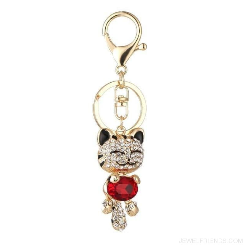 Lucky Smile Cat Crystal Rhinestone Keyrings - D - Custom Made | Free Shipping