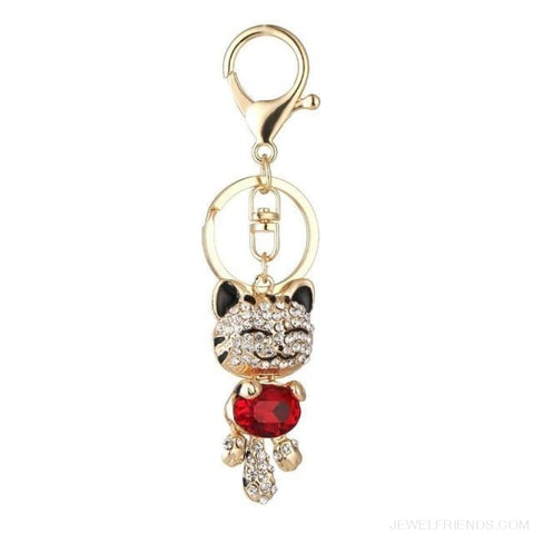 Image of Lucky Smile Cat Crystal Rhinestone Keyrings - D - Custom Made | Free Shipping