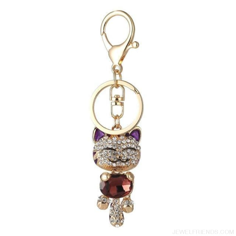 Lucky Smile Cat Crystal Rhinestone Keyrings - E - Custom Made | Free Shipping