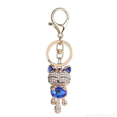 Image of Lucky Smile Cat Crystal Rhinestone Keyrings - F - Custom Made | Free Shipping