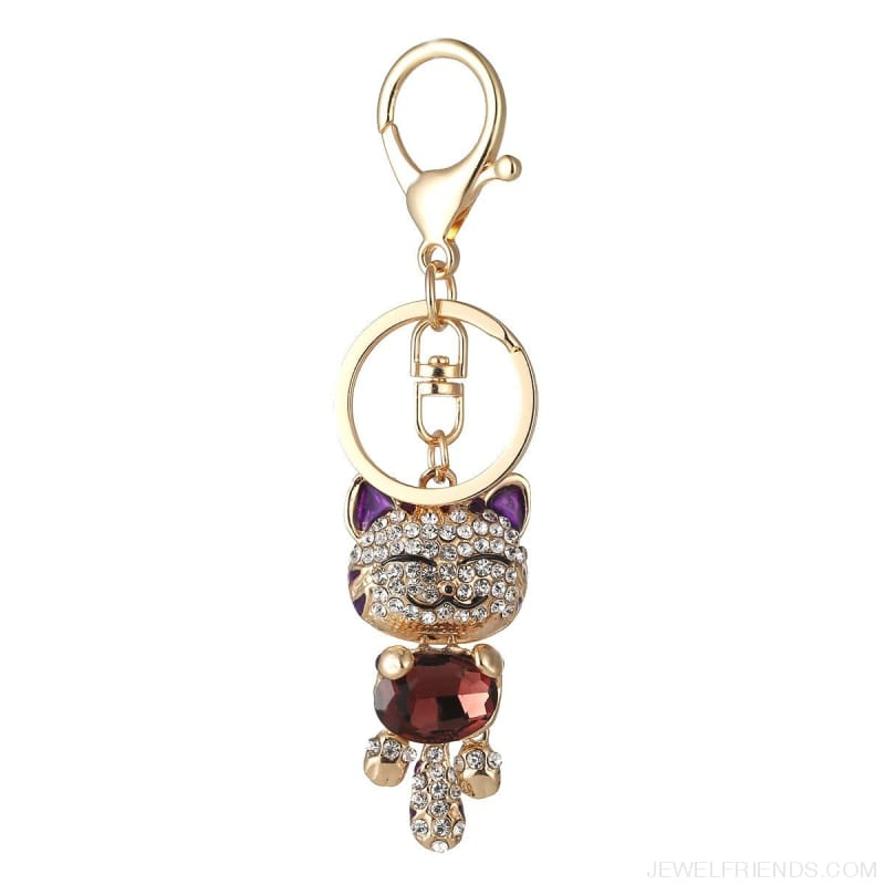 Lucky Smile Cat Crystal Rhinestone Keyrings - Custom Made | Free Shipping