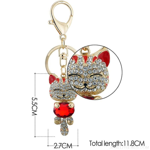 Image of Lucky Smile Cat Crystal Rhinestone Keyrings - Custom Made | Free Shipping