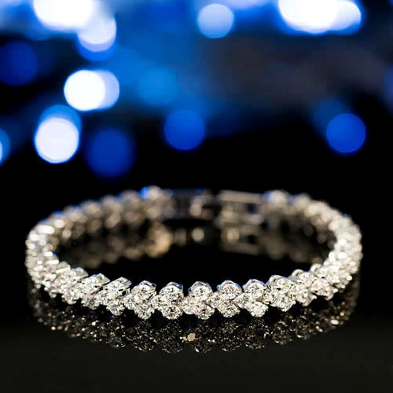 Luxury Crystal Charm Silver Bracelets - Custom Made | Free Shipping