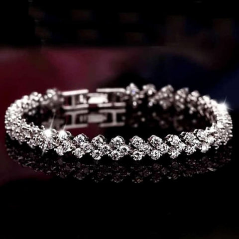 Image of Luxury Crystal Charm Silver Bracelets - Custom Made | Free Shipping