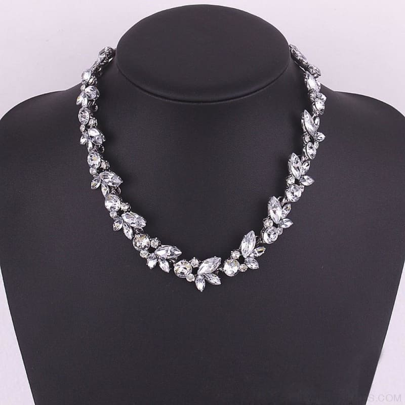 Luxury Crystal Flower Statement Necklace - Custom Made | Free Shipping