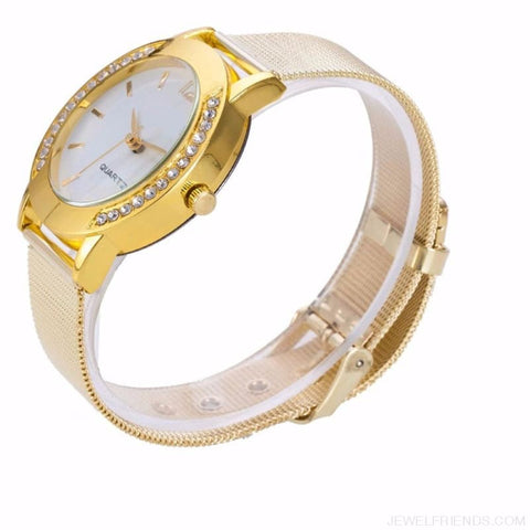 Image of Luxury Crystal Full Steel Gold Watch - Custom Made | Free Shipping