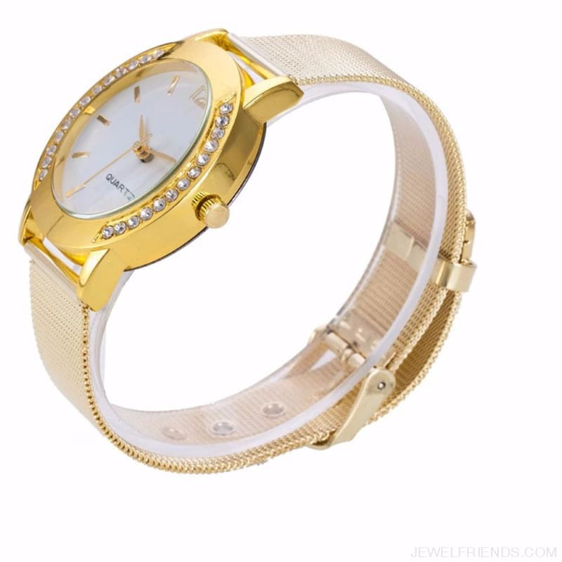 Luxury Crystal Full Steel Gold Watch - Custom Made | Free Shipping