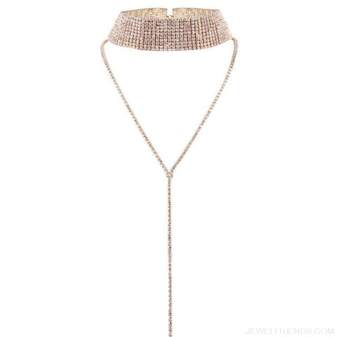 Image of Luxury Crystal Rhinestone Long Choker - Gold Wide - Custom Made | Free Shipping
