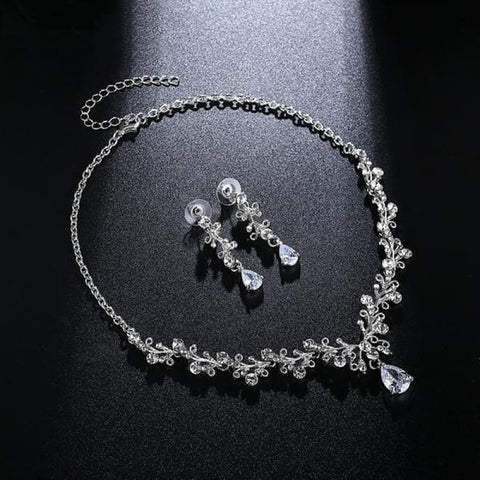 Image of Luxury Cubic Zirconia Bridal Leaf-Shape Crystal Jewelry Set - Custom Made | Free Shipping