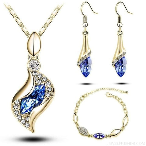 Luxury Design Gold Filled Colorful Austrian Crystal Drop Jewelry Sets - Dark Blue G - Custom Made | Free Shipping