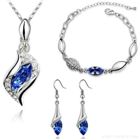 Luxury Design Gold Filled Colorful Austrian Crystal Drop Jewelry Sets - Dark Blue S - Custom Made | Free Shipping