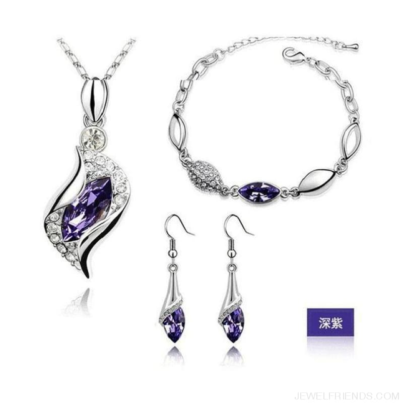 Luxury Design Gold Filled Colorful Austrian Crystal Drop Jewelry Sets - Dark Purple S - Custom Made | Free Shipping