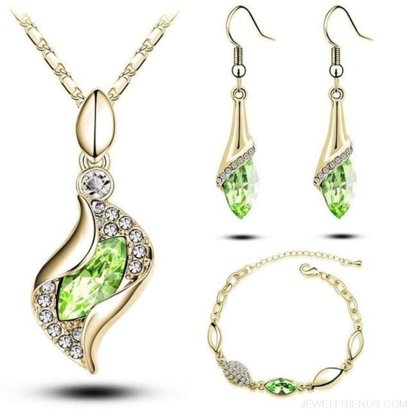 Luxury Design Gold Filled Colorful Austrian Crystal Drop Jewelry Sets - Green G - Custom Made | Free Shipping