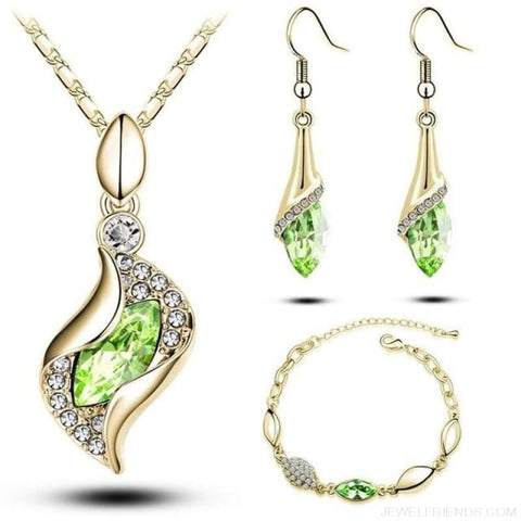 Image of Luxury Design Gold Filled Colorful Austrian Crystal Drop Jewelry Sets - Green G - Custom Made | Free Shipping