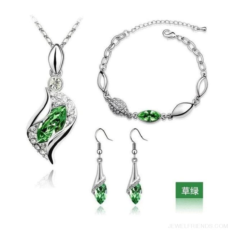 Luxury Design Gold Filled Colorful Austrian Crystal Drop Jewelry Sets - Green S - Custom Made | Free Shipping