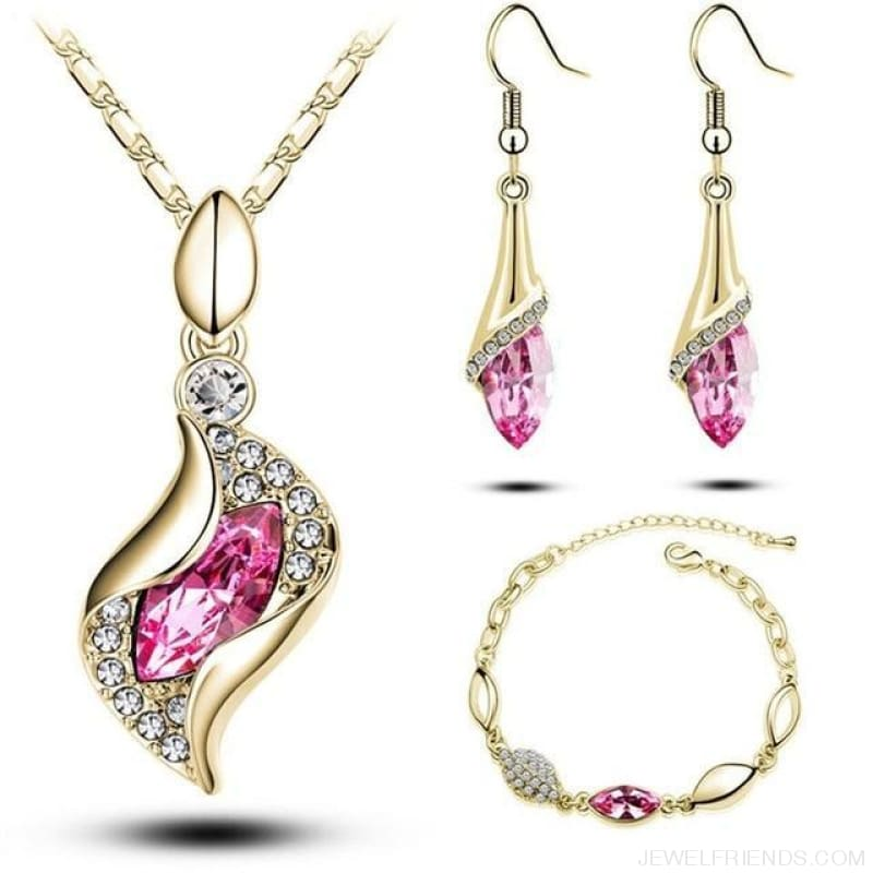 Luxury Design Gold Filled Colorful Austrian Crystal Drop Jewelry Sets - Hot Pink G - Custom Made | Free Shipping