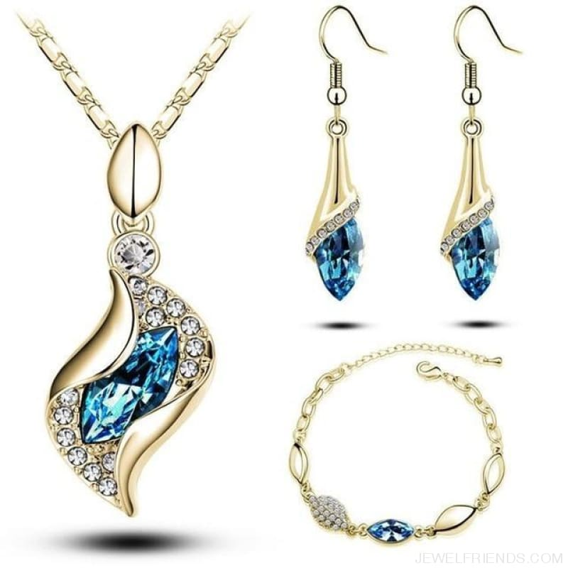 Luxury Design Gold Filled Colorful Austrian Crystal Drop Jewelry Sets - Light Blue G - Custom Made | Free Shipping