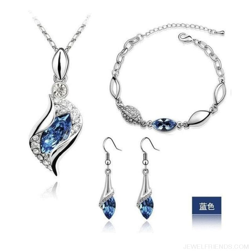 Luxury Design Gold Filled Colorful Austrian Crystal Drop Jewelry Sets - Light Blue S - Custom Made | Free Shipping