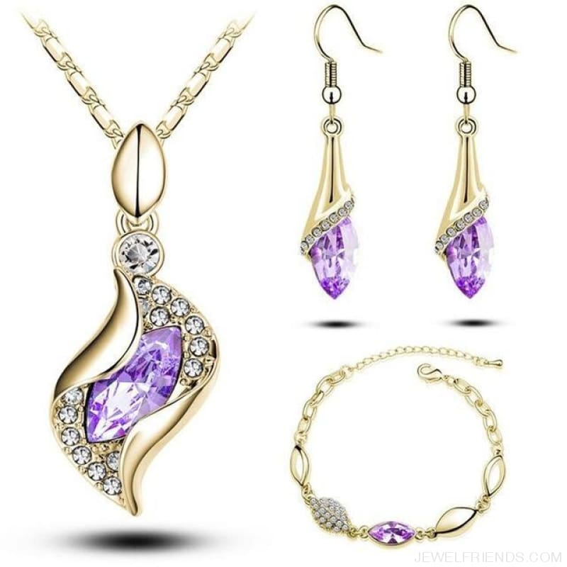 Luxury Design Gold Filled Colorful Austrian Crystal Drop Jewelry Sets - Light Purple G - Custom Made | Free Shipping
