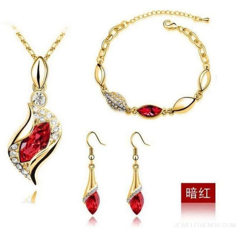 Luxury Design Gold Filled Colorful Austrian Crystal Drop Jewelry Sets - Red G - Custom Made | Free Shipping
