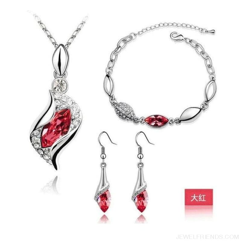 Luxury Design Gold Filled Colorful Austrian Crystal Drop Jewelry Sets - Red S - Custom Made | Free Shipping