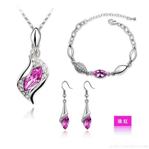 Luxury Design Gold Filled Colorful Austrian Crystal Drop Jewelry Sets - Rose Red S - Custom Made | Free Shipping